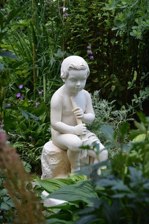 English Carved Marble Statue of a Youth For Sale