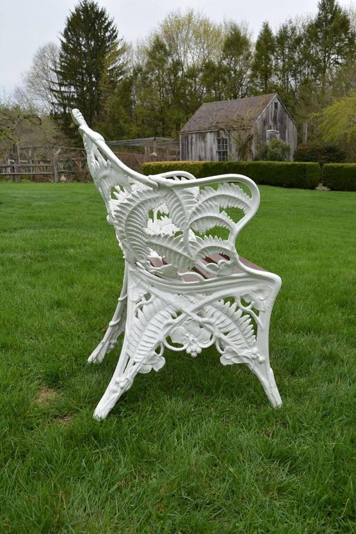 "Garden Seat Marked ""Coalbrookdale"" and Later Chairs in Fern Pattern 8"