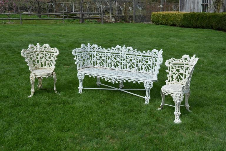 Garden Seat and Chairs in the Morning Glory Pattern 2