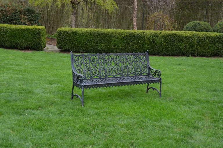 American Cast Iron Curtain Style Bench For Sale