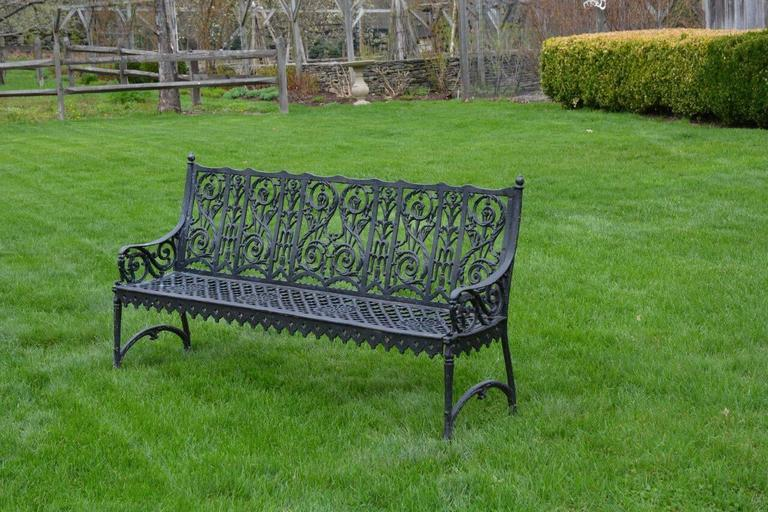 Victorian Cast Iron Curtain Style Bench For Sale