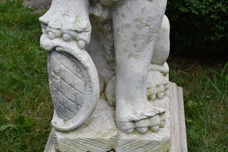 Limestone Carved Stone Bavarian Lions For Sale