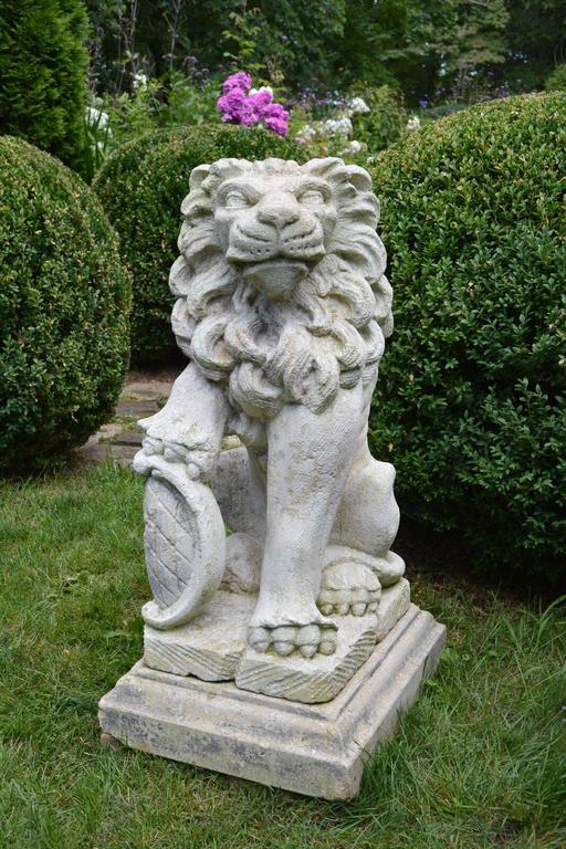 Carved Stone Bavarian Lions For Sale 2
