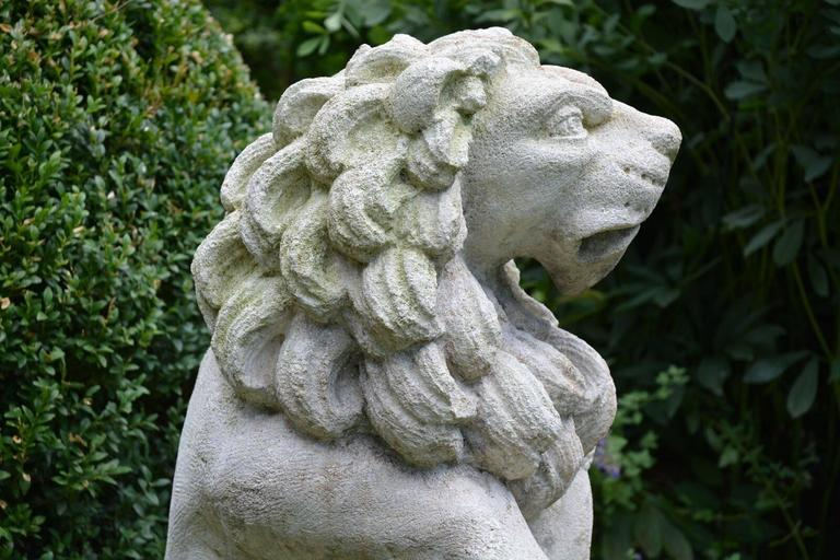Carved Stone Bavarian Lions In Good Condition For Sale In Katonah, NY
