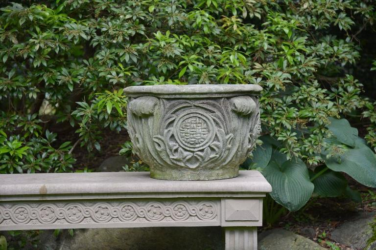 Composition Stone Planter with Foliate Motifs 2