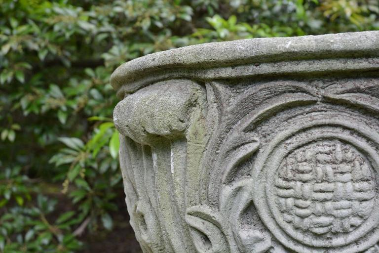 Composition Stone Planter with Foliate Motifs 7