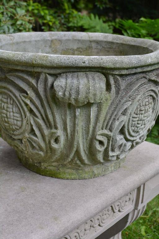 Composition Stone Planter with Foliate Motifs 6