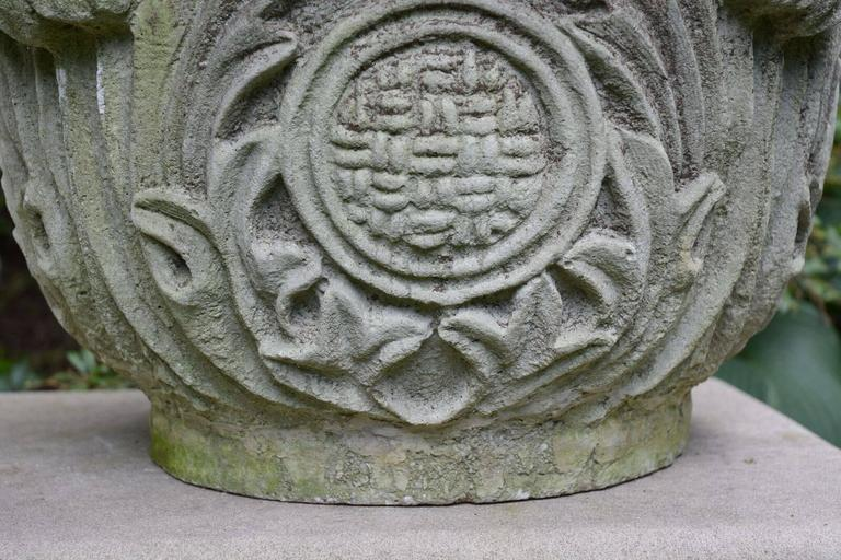 Composition Stone Planter with Foliate Motifs 8