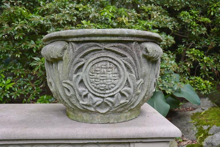 Composition Stone Planter with Foliate Motifs 3