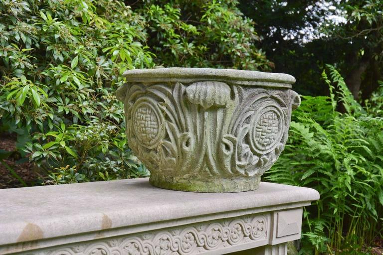 Composition Stone Planter with Foliate Motifs 4