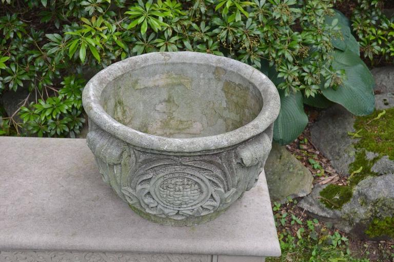 Composition Stone Planter with Foliate Motifs 5