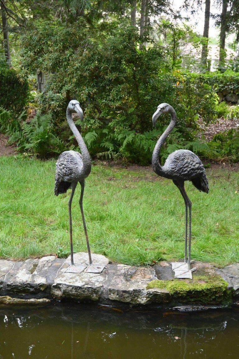 Pair of English Bronze Flamingoes 2