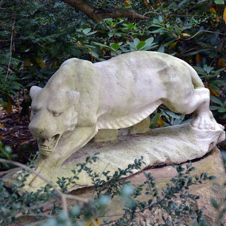 Carved Sculpture of Stalking Tiger in Marble For Sale