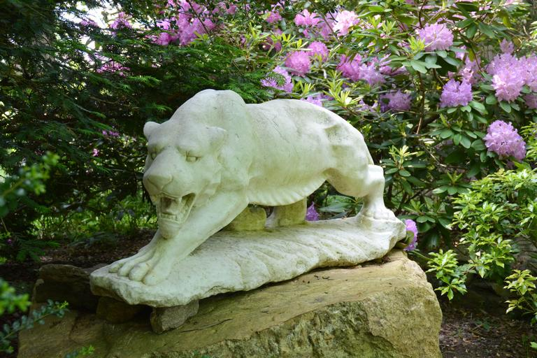 British Sculpture of Stalking Tiger in Marble For Sale