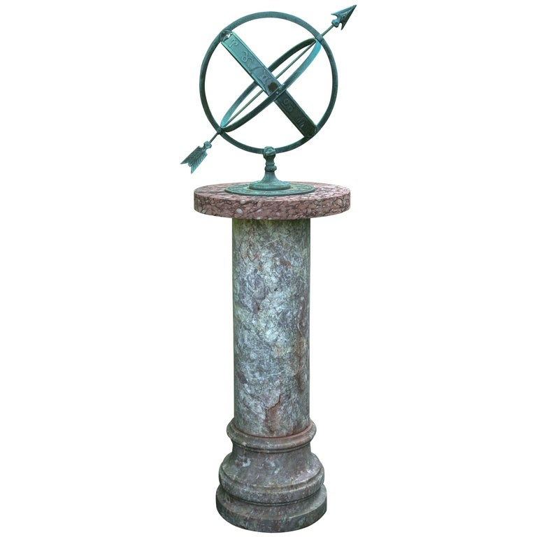 Armillary Sphere On Rosso Verona Marble Pedestal At 1stdibs