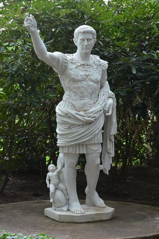 A carved marble figure of Augustus of Prima Porta, after the 1st-century AD Roman original, attributed to J. Chiurazzi & Fils, Italian (Naples), circa. 1900. This identical model, also by Chiurazzi, is displayed in the garden at Ca d'Zan, the John