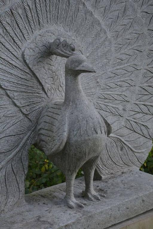 Sculpture of Granite Peacock 7