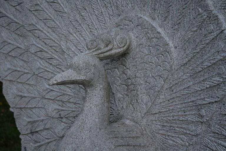 Sculpture of Granite Peacock 5