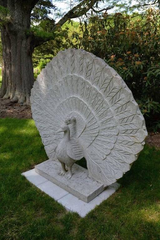 Sculpture of Granite Peacock 3