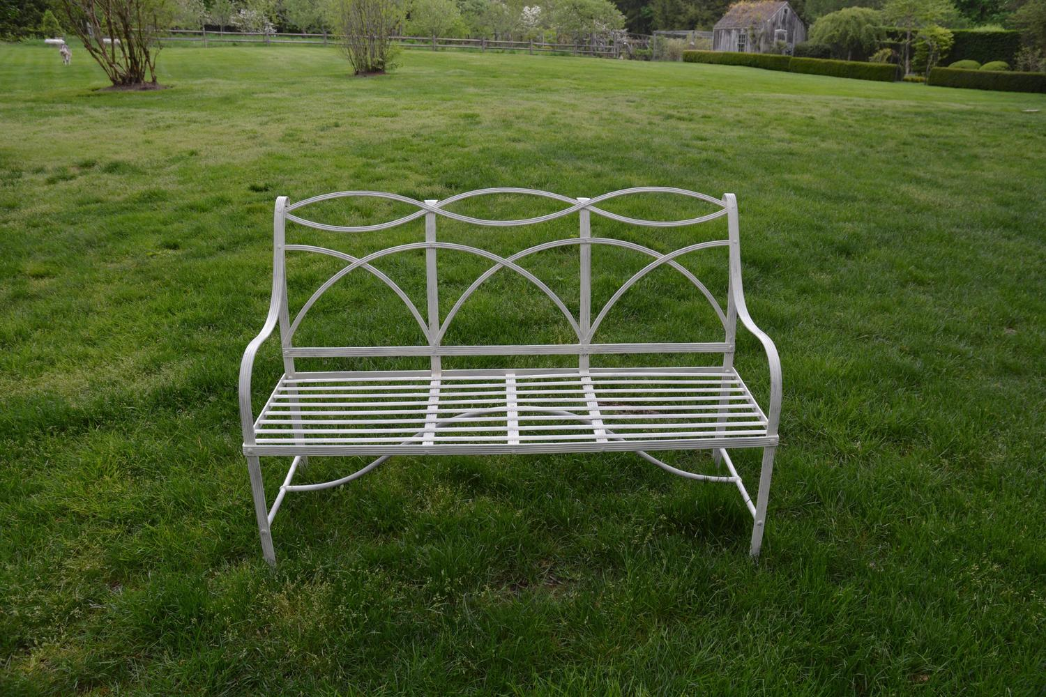 Garden Bench With Wrought Iron Elements For Sale At 1stdibs