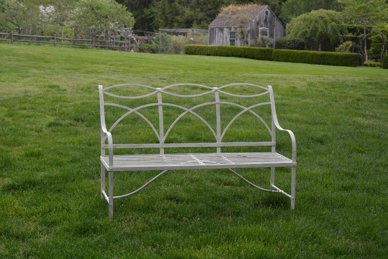 Delicieux Wrought Iron Garden Bench With Wrought Iron Elements For Sale
