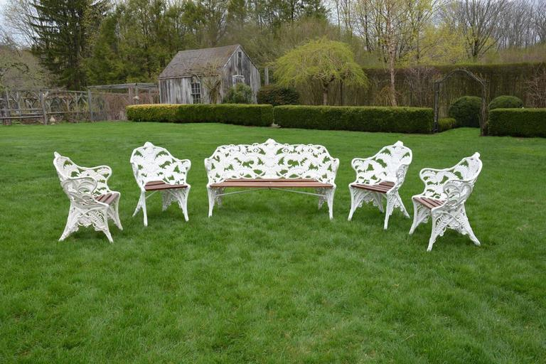 "Garden Seat Marked ""Coalbrookdale"" and Later Chairs in Fern Pattern 2"