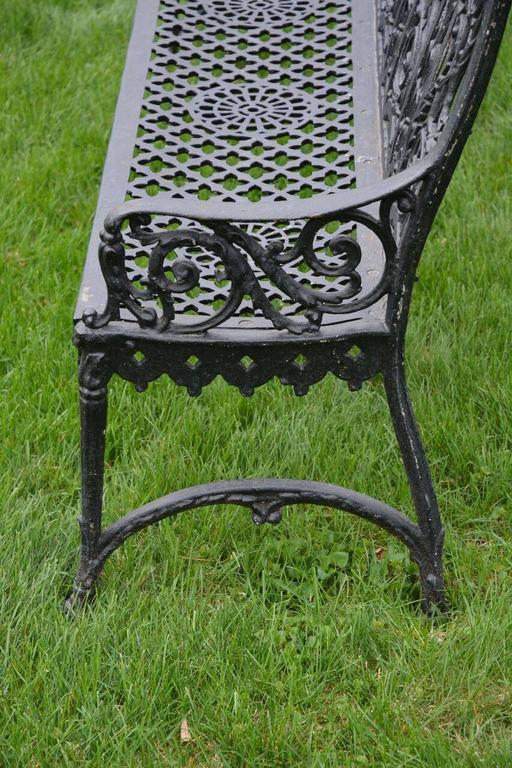 Early 20th Century Cast Iron Curtain Style Bench For Sale