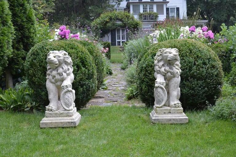 Baroque Carved Stone Bavarian Lions For Sale