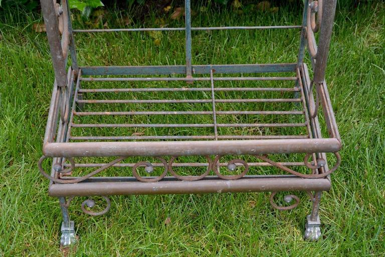 20th Century Wrought Iron and Brass Baker's Rack For Sale