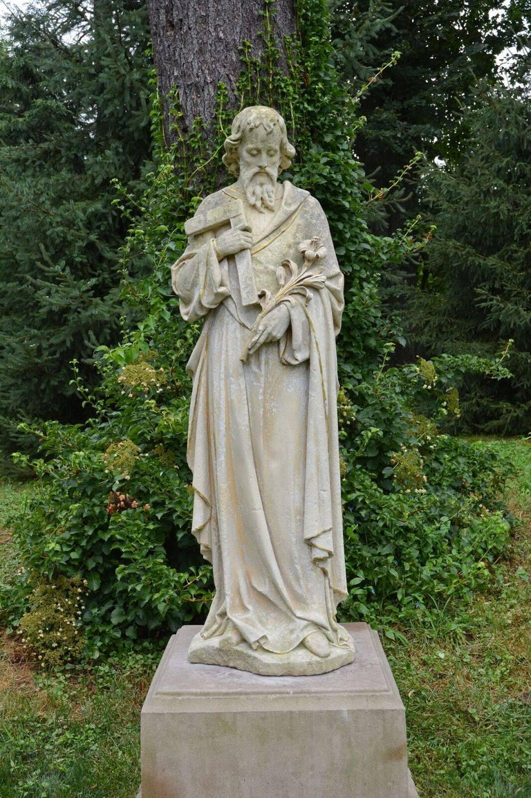 Carved Stone Statue of Saint Joseph For Sale at 1stdibs