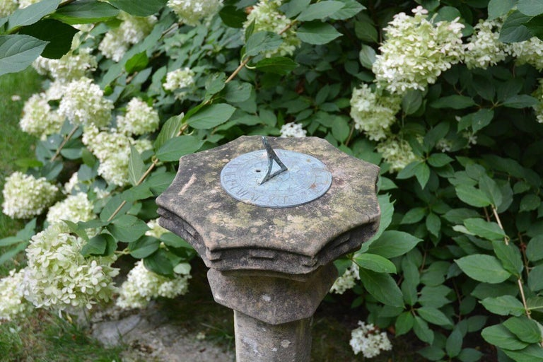 19th Century Carved Stone Sundial with Scalloped Edge For Sale