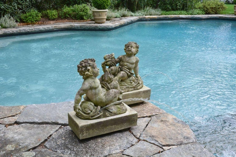 Neoclassical Pair of Carved Cherub Fountains For Sale