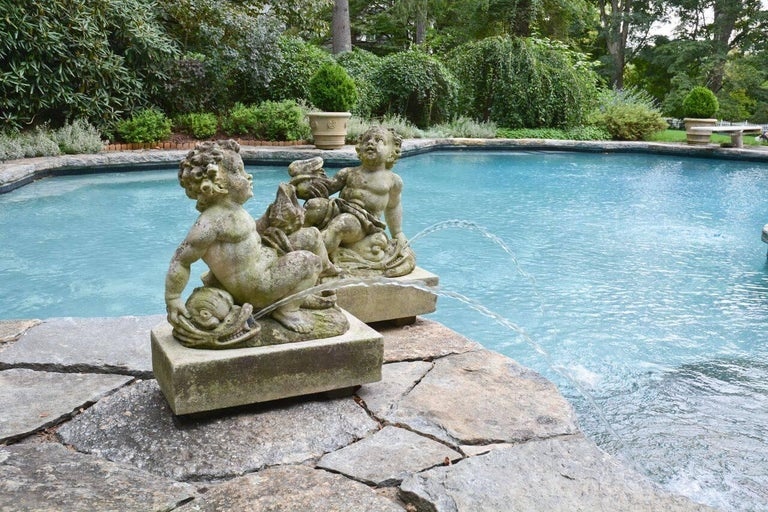 Italian Pair of Carved Cherub Fountains For Sale