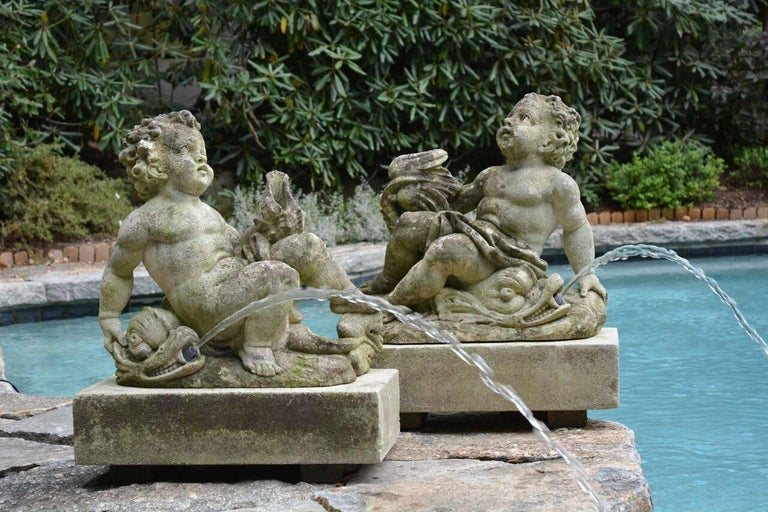 Pair of Carved Cherub Fountains In Good Condition For Sale In Katonah, NY