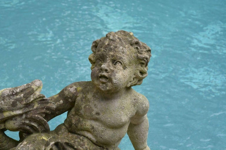Pair of Carved Cherub Fountains For Sale 1