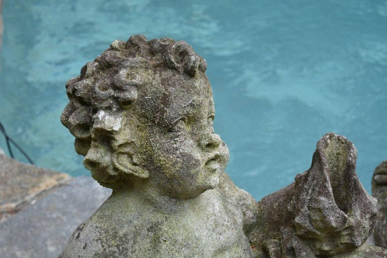 Pair of Carved Cherub Fountains For Sale 2