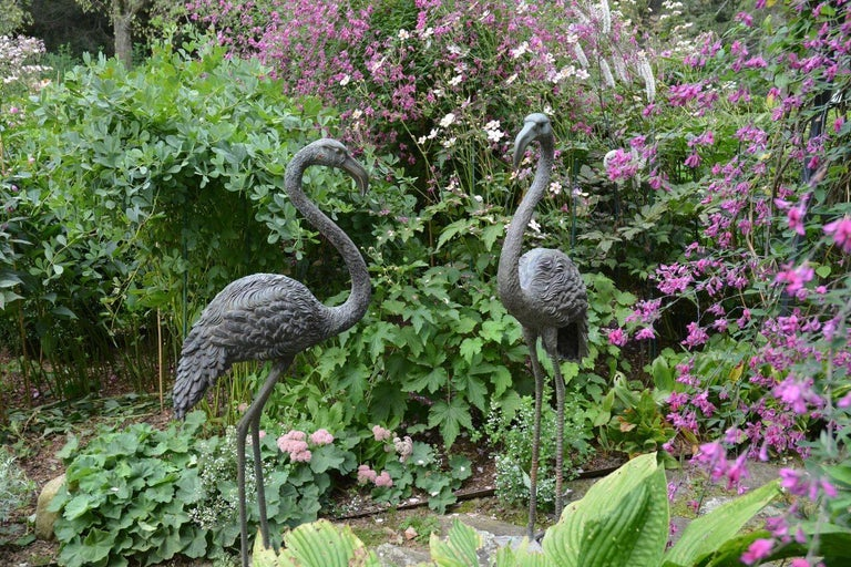 Pair of English Bronze Flamingoes 7