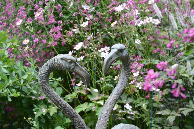 Pair of English Bronze Flamingoes 8
