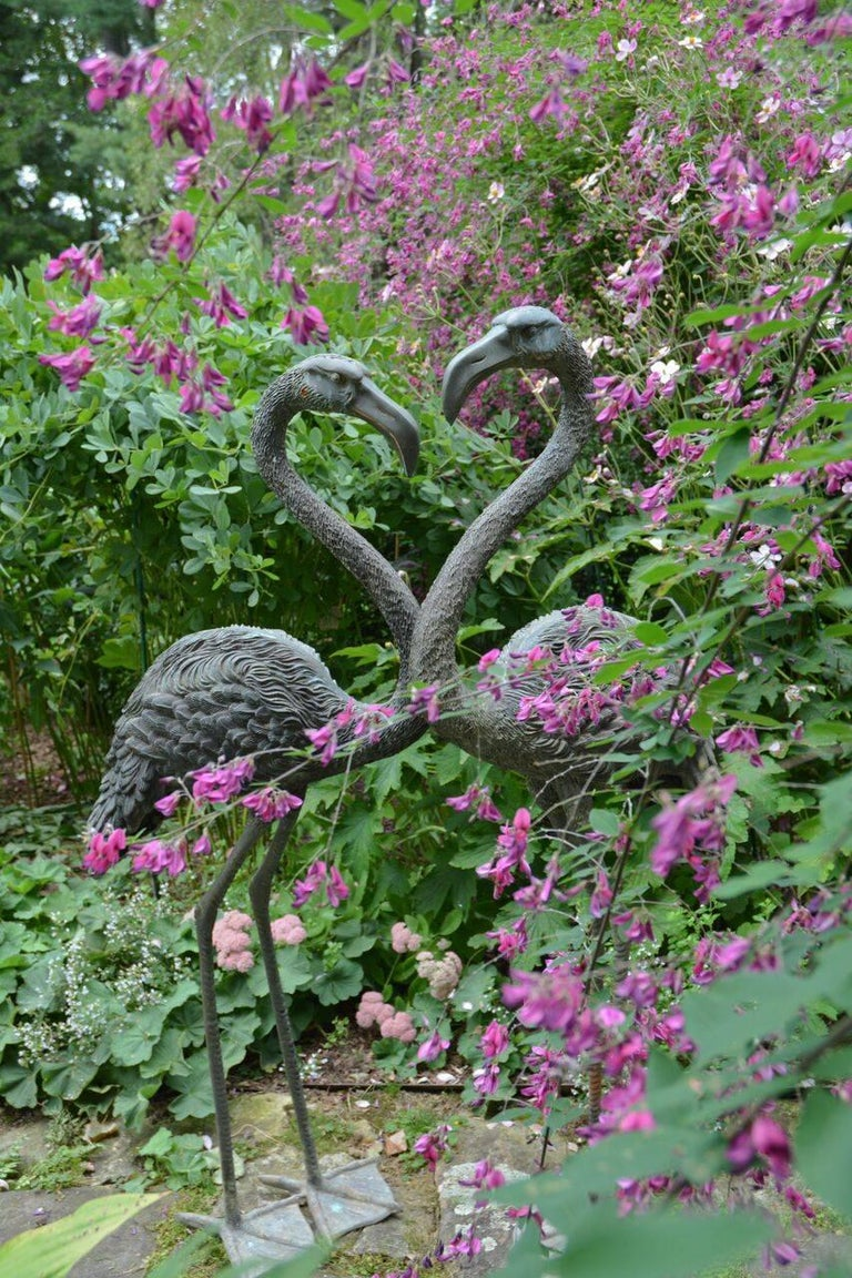 Pair of English Bronze Flamingoes 10