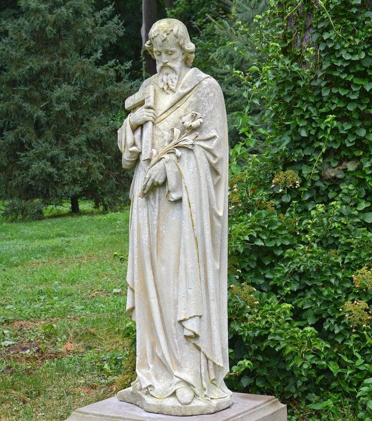Late Victorian English Limestone Statue of St. Joseph For Sale