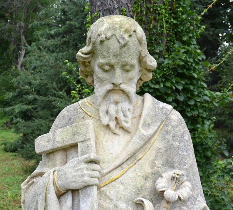 Carved English Limestone Statue of St. Joseph For Sale