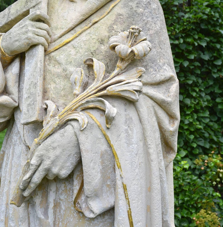 Late 19th Century English Limestone Statue of St. Joseph For Sale