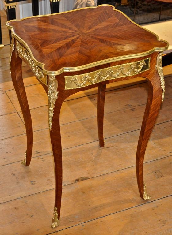 Marquetry Pair of French Louis XV Style Kingwood and Ormolu Side Tables For Sale