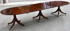 Period Regency Three Pedestal Mahogany Dining Table, Ca 1820