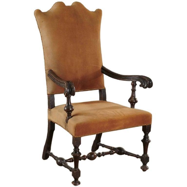 Baroque Period Dutch 17th Century Walnut Armchair For Sale