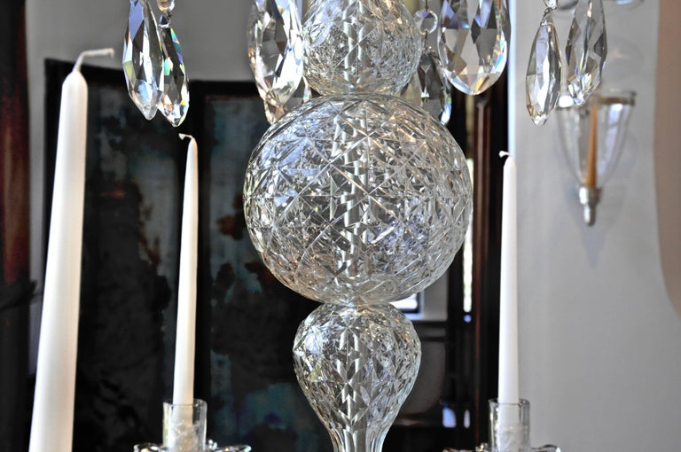 19th Century Irish Georgian Crystal Chandelier In Excellent Condition For Sale In Essex, MA
