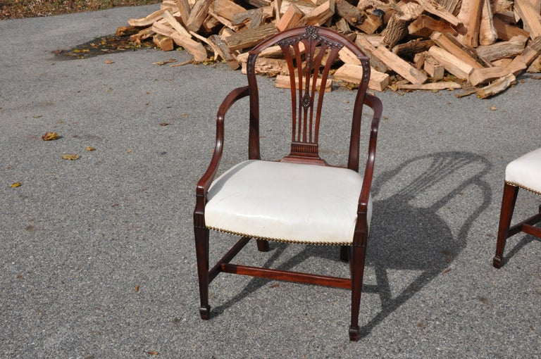 Beautifulset of late 18th century Georgian dining chairs in Robert Adam inspired form. Possibly Hepplewhite's creation. Original finish and fine condition. Patina is natural and shows a wonderful history of use.  Rare to see a set of this