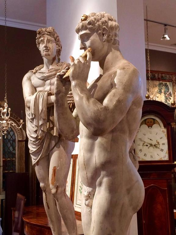 Italian Grand Tour Neoclassical Carved Life-size Statues of Apollo and Marsyas In Excellent Condition For Sale In Essex, MA