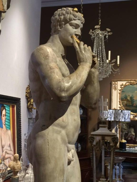 Italian Grand Tour Neoclassical Carved Life-size Statues of Apollo and Marsyas 7