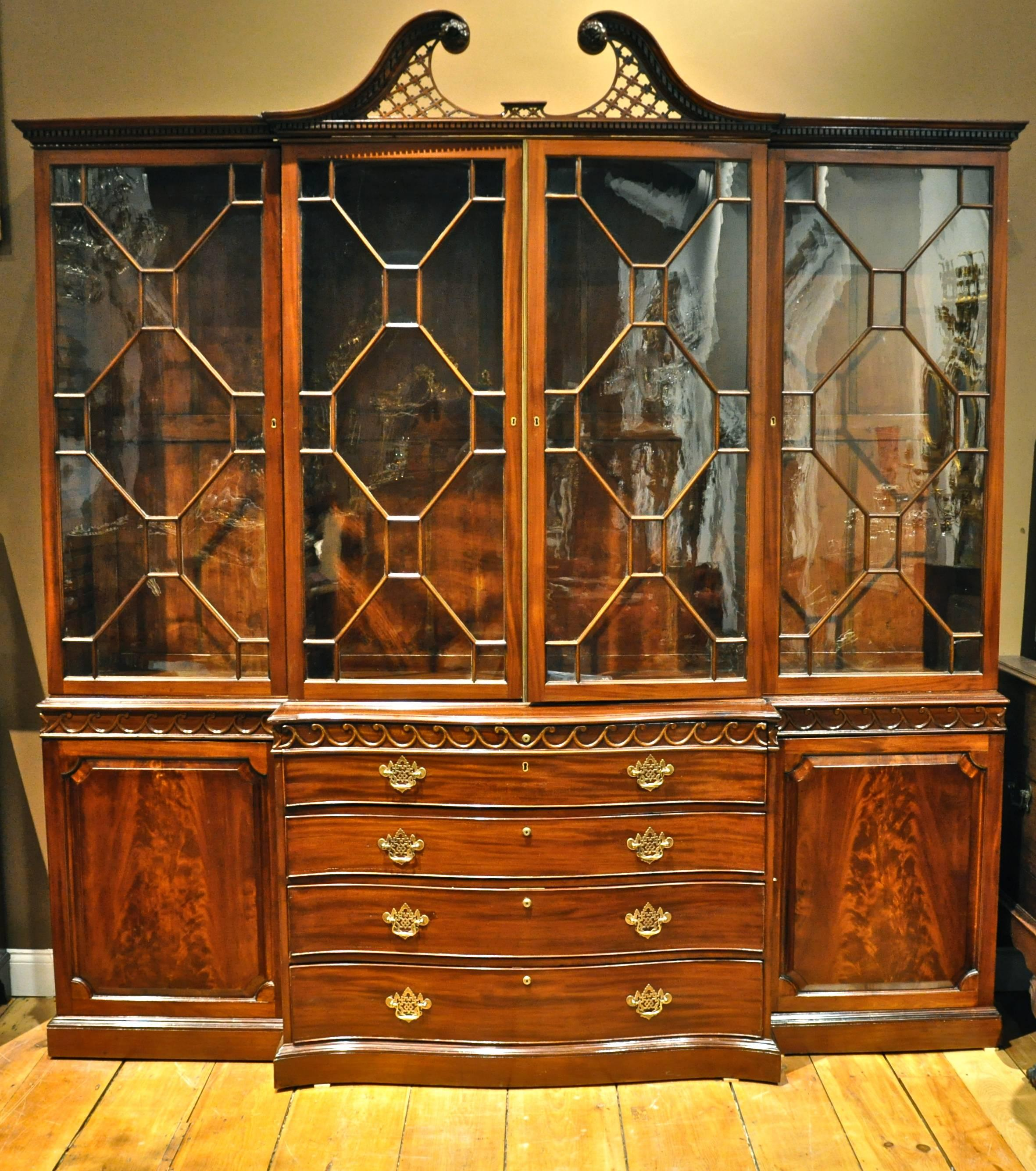 Period 18th Century George III Chippendale Mahogany Breakfront For